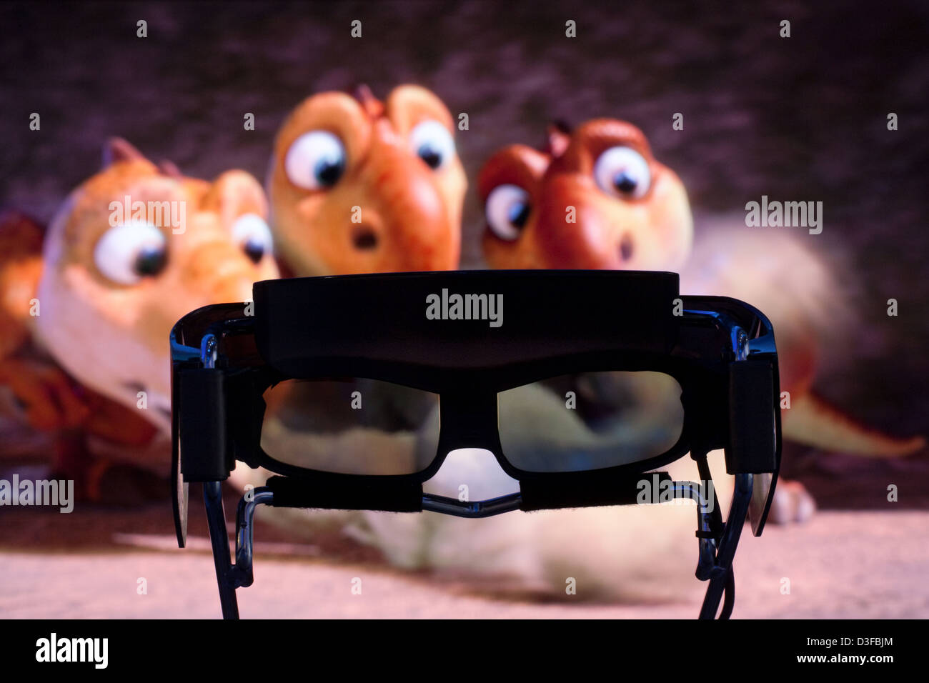 Berlin, Germany, 3D glasses and 3D-image of the film Ice Age 3 - Stock Image