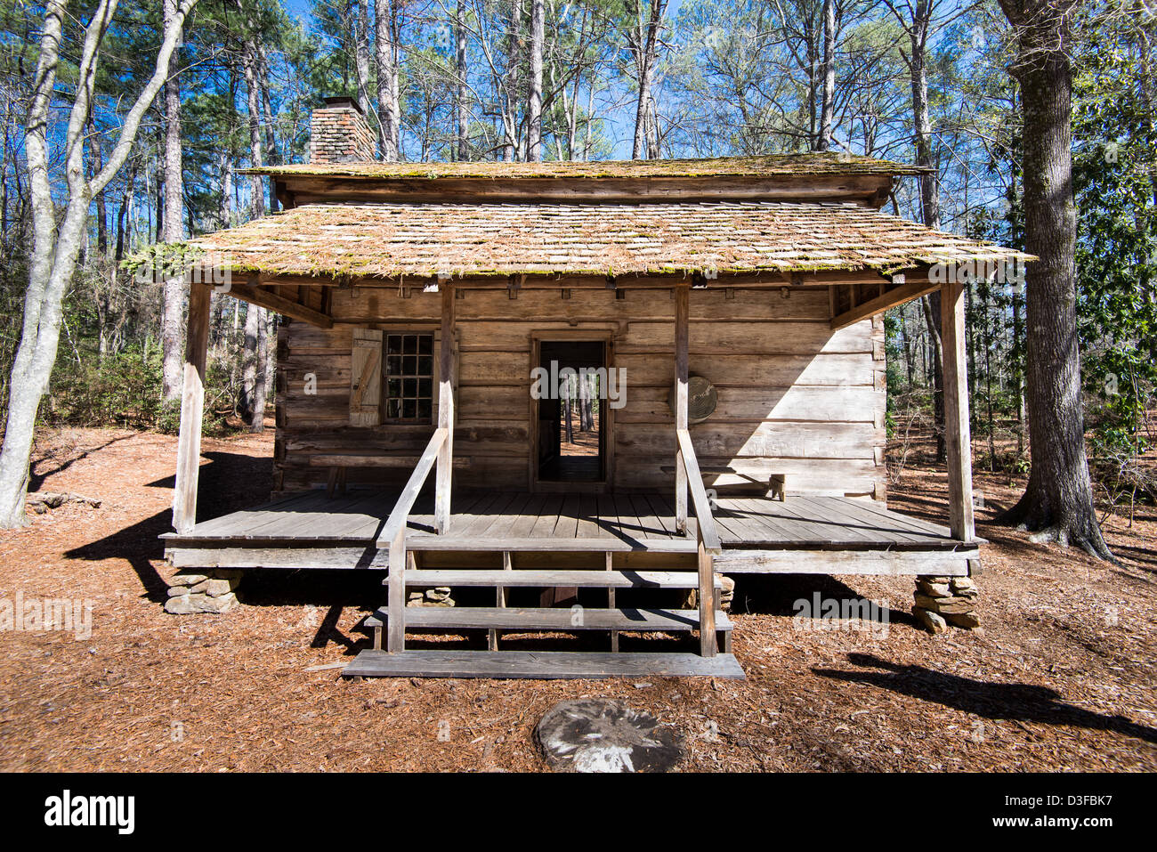 This Hand Hewn Longleaf Pine Log Cabin Was Built Around 1830 Imoved To Callaway  Gardens, Pine Mountain, Georgia In 1959.