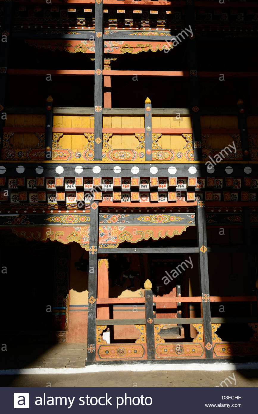 Paro Dzong,a beautiful fortress,splendid Bhutanese style of architecture in courtyard,lit by shaft of light,36MPX,HI - Stock Image