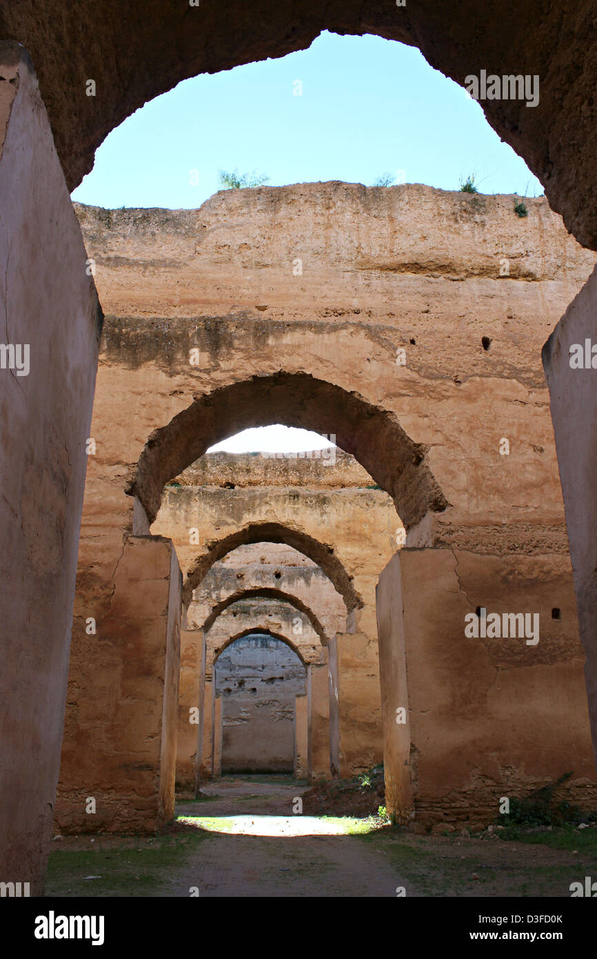 Perspective impressive building Barn and Stables - Meknes - Morocco - Stock Image
