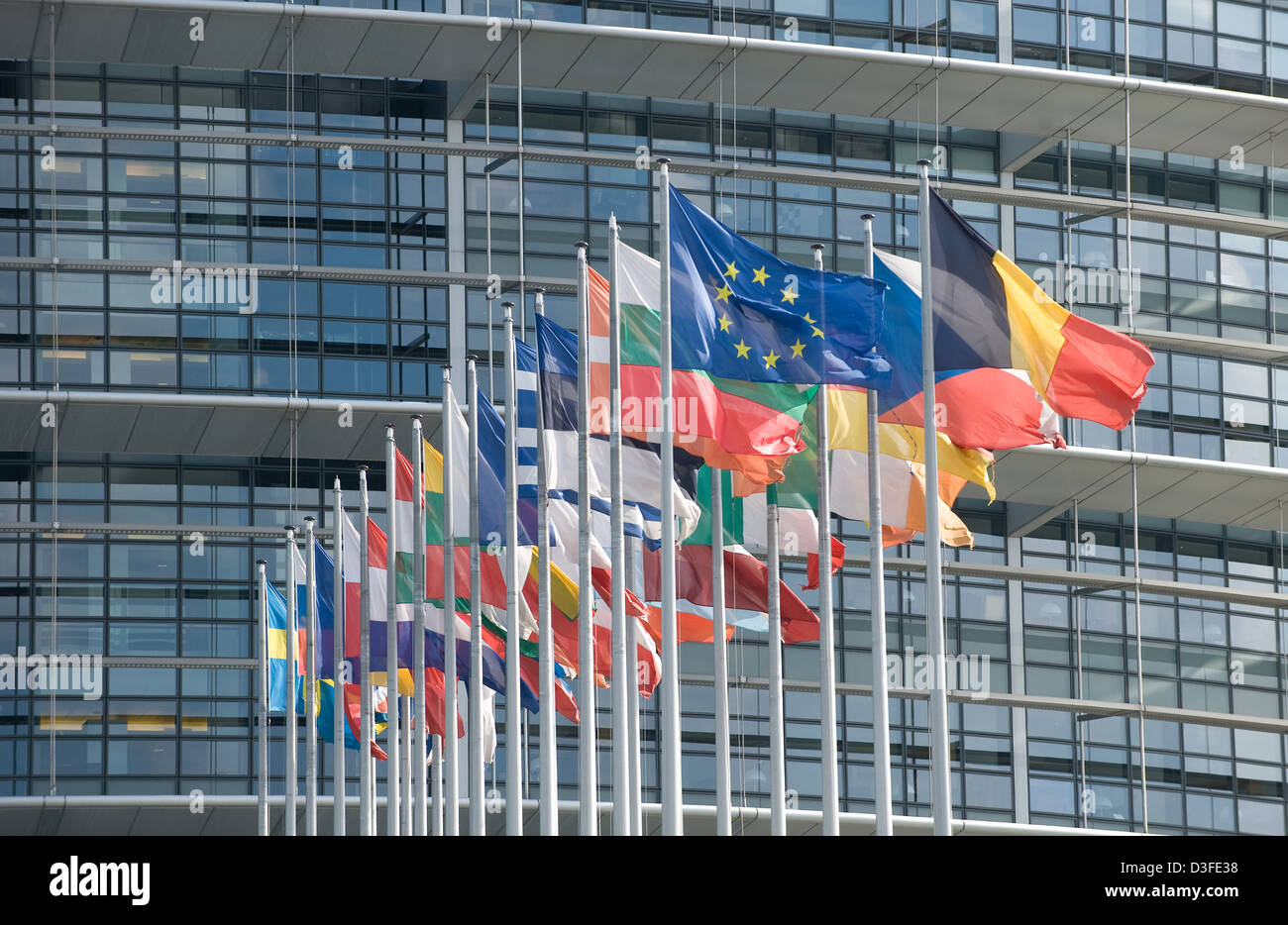 Strasbourg, France, flags of the EU Member States before the European Parliament - Stock Image