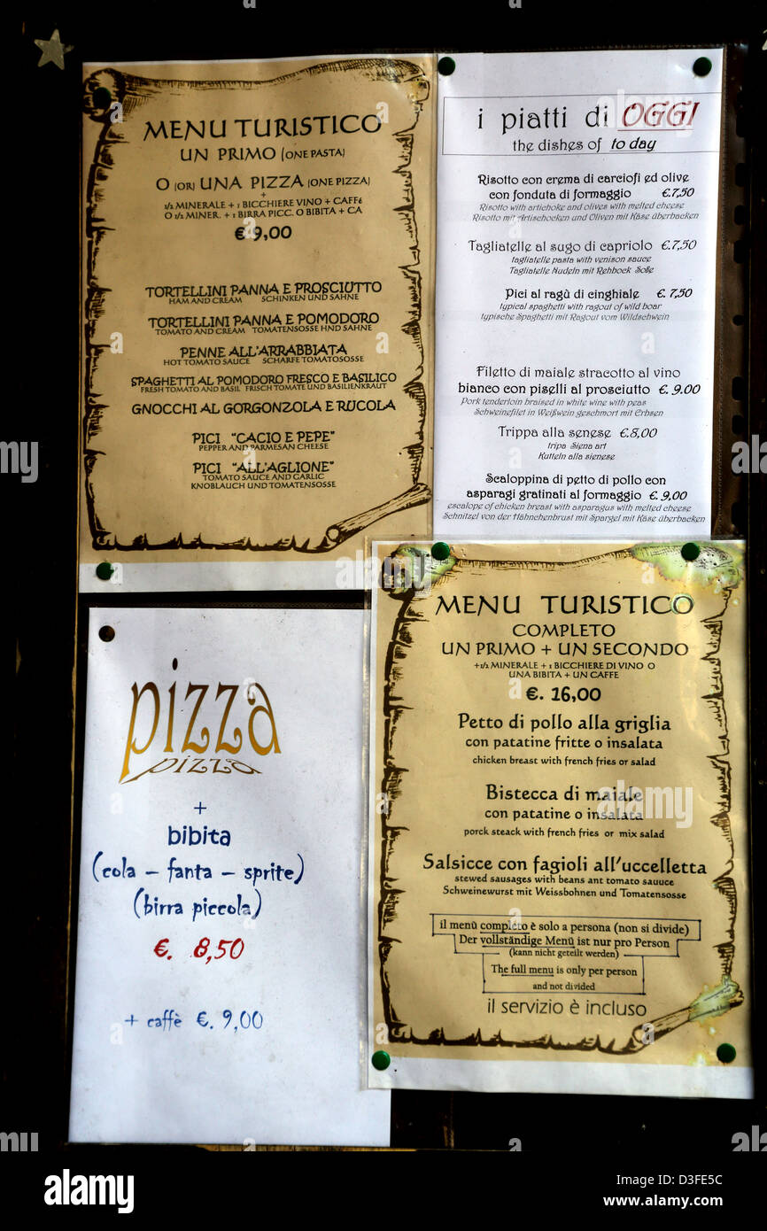 Menus displayed outside a cafe in Italy - Stock Image