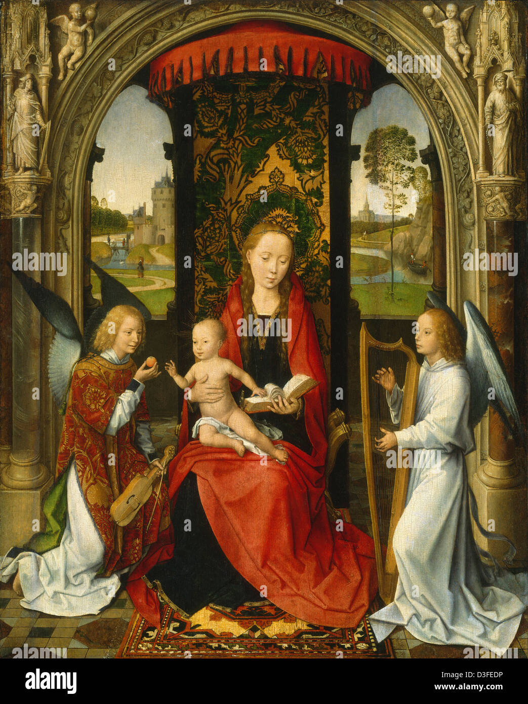 Hans Memling, Madonna and Child with Angels, Netherlandish, active c. 1465 - 1494, after 1479, oil on panel - Stock Image