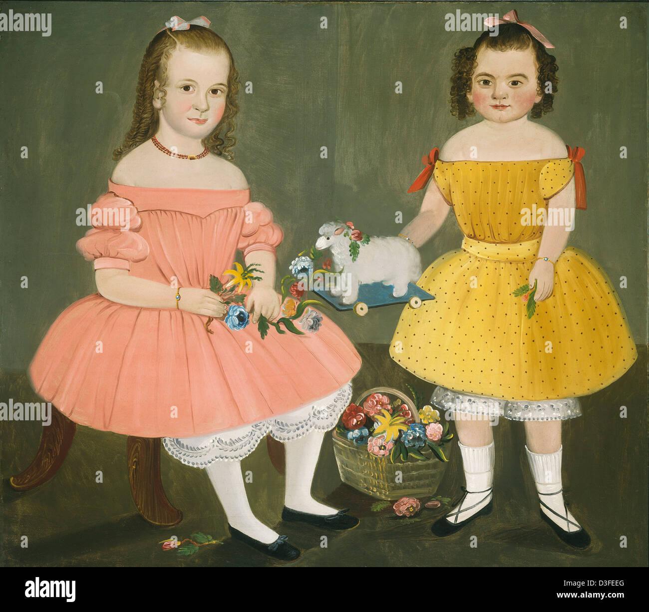 William Matthew Prior, The Burnish Sisters, American, 1806 - 1873, 1854, oil on canvas - Stock Image