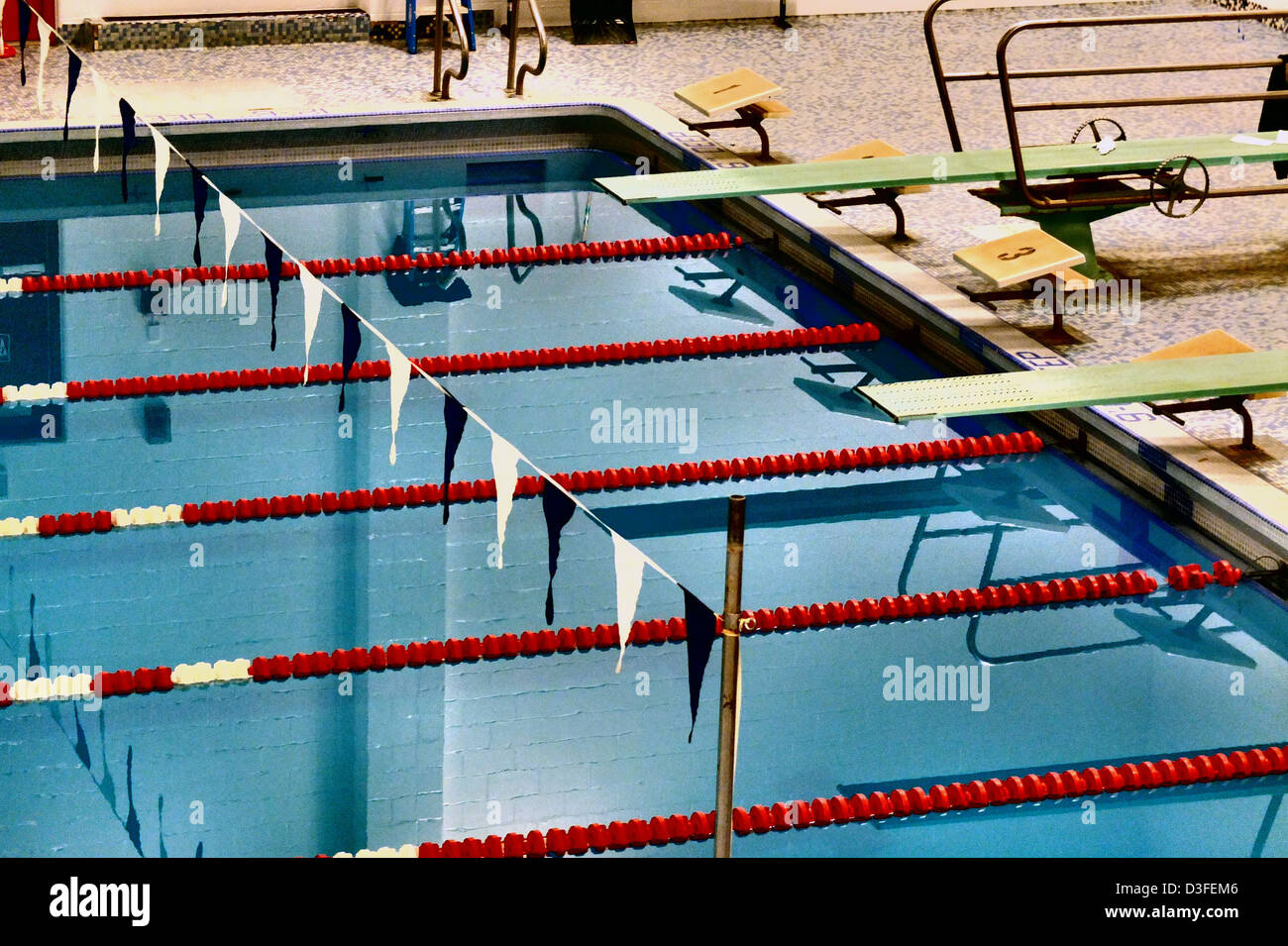 A School Pool, or natatorium used for athletics in Connecticut, USA (Stylized with special film technique - Stock Image