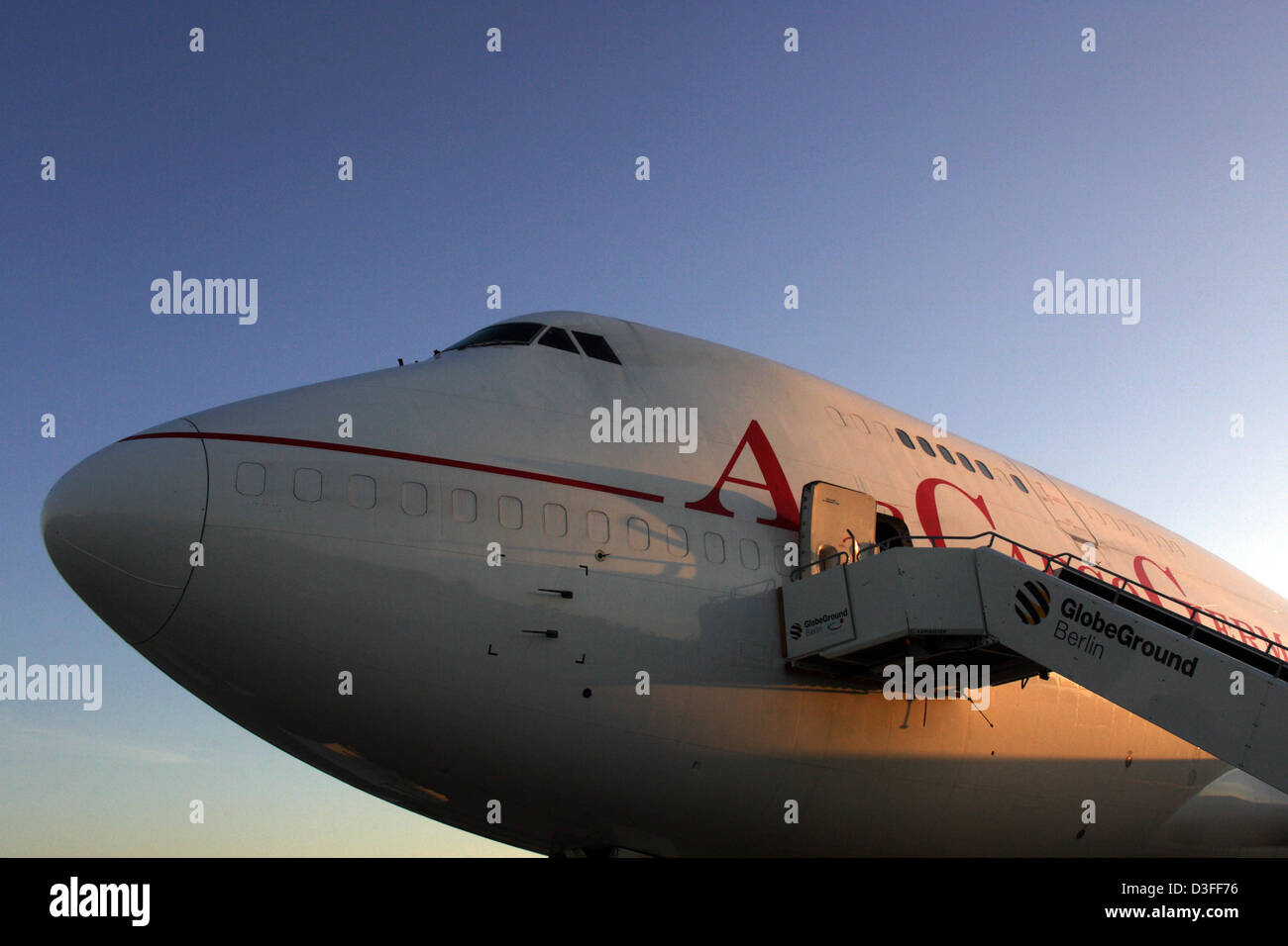 Schoenefeld, Germany, front view of the Air Cargo Germany machine - Stock Image