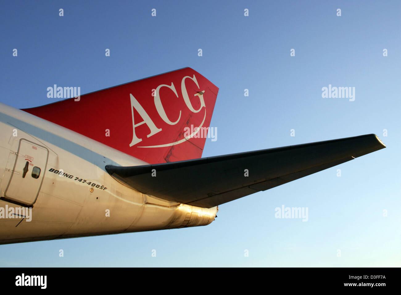 Schoenefeld, Germany, Heckfluegel the Air Cargo Germany machine - Stock Image
