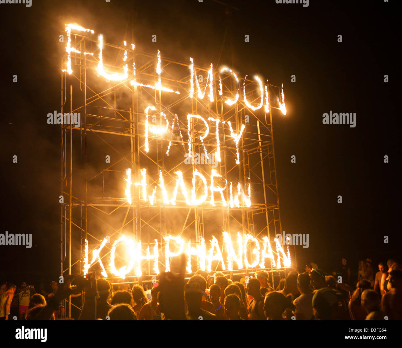 Fire display at the Full Moon Party on Haad Rin beach Koh Phangan Thailand - Stock Image
