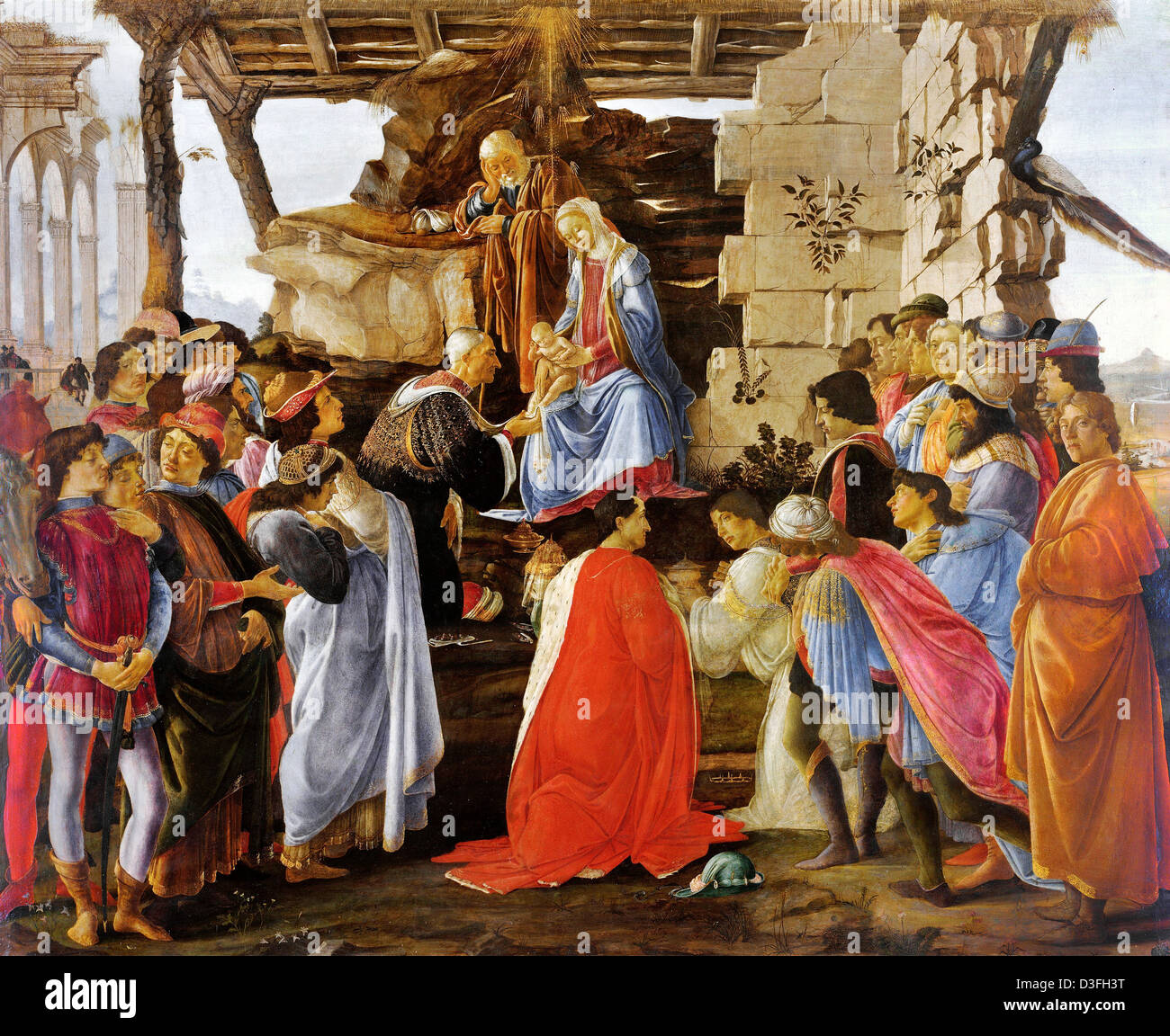 Sandro Botticelli, Adoration of the Magi 1475 Tempera on panel. Uffizi, Florence - Stock Image