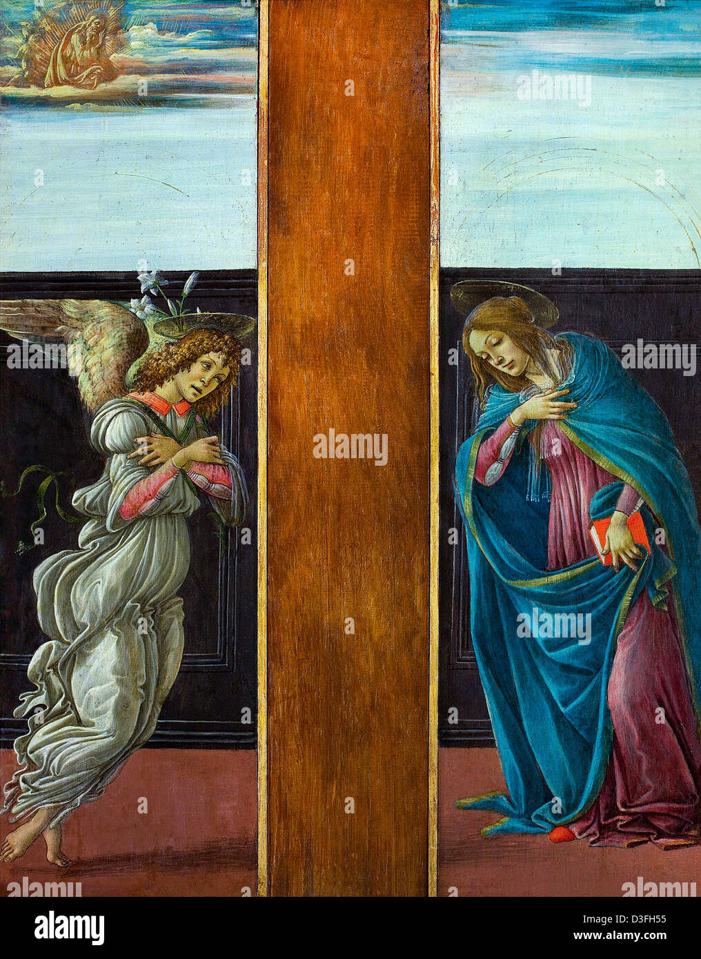 Sandro Botticelli, The Annunciation 1490 Tempera on canvas. Pushkin Museum, Moscow - Stock Image