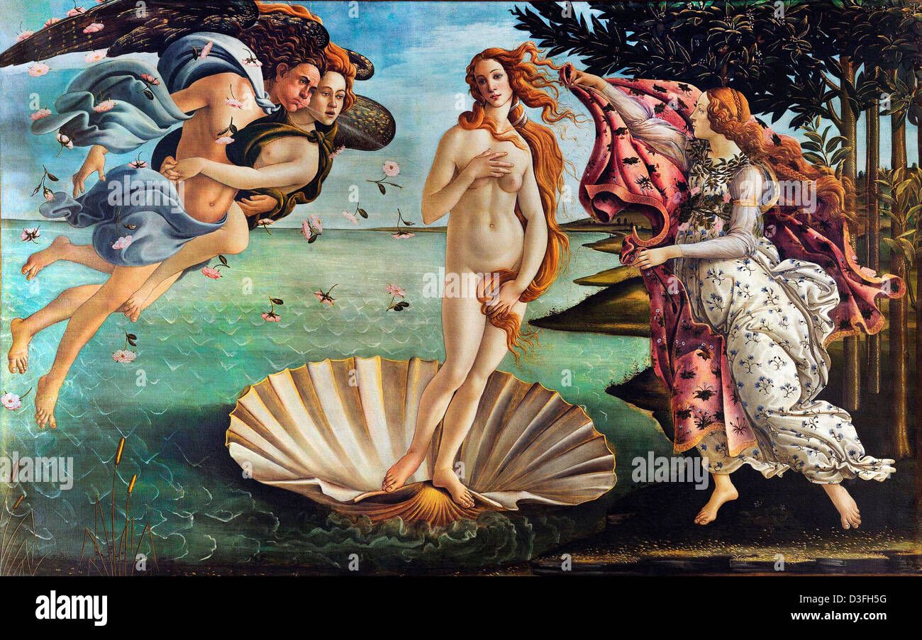 Sandro Botticelli, The Birth of Venus 1485 Tempera on canvas. Uffizi, Florence - Stock Image