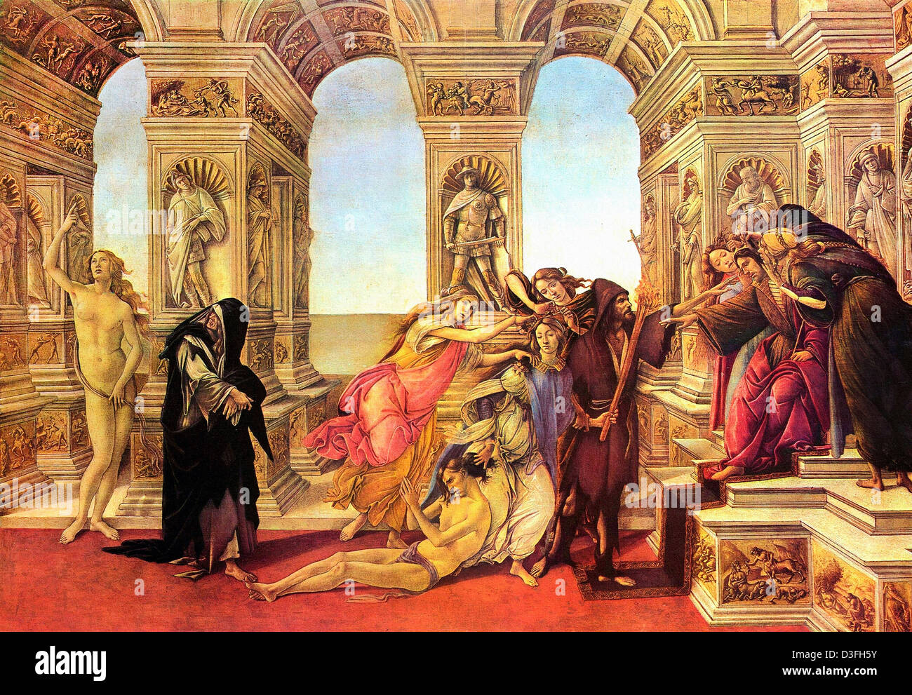Sandro Botticelli, Calumny of Apelles 1495 Tempera on panel. Uffizi, Florence - Stock Image
