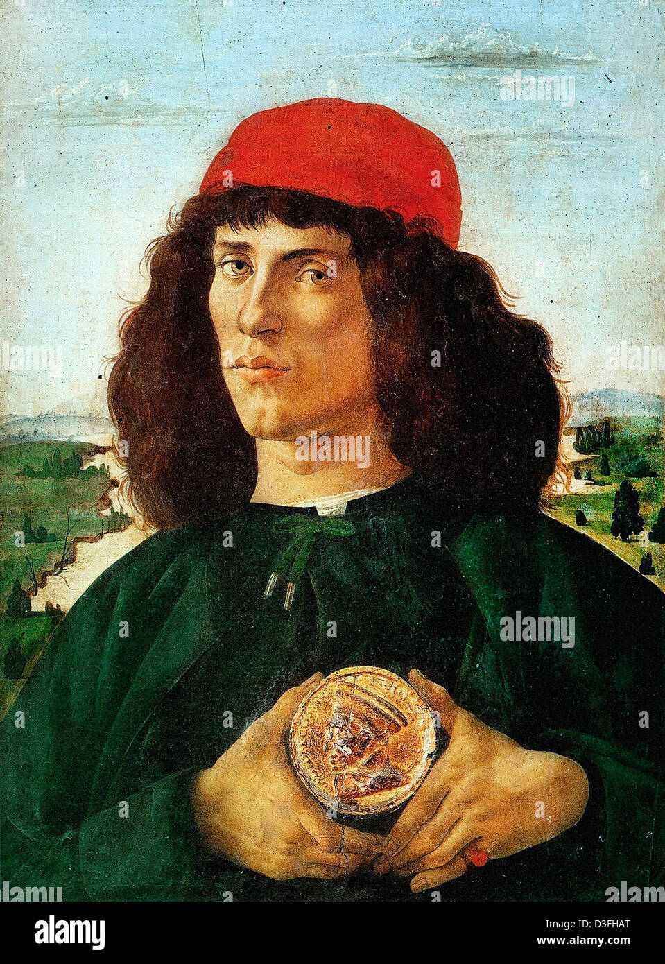Sandro Botticelli, Portrait of a Man with a Medal of Cosimo the Elder 1474-1475 Tempera on panel. Uffizi, Florence - Stock Image