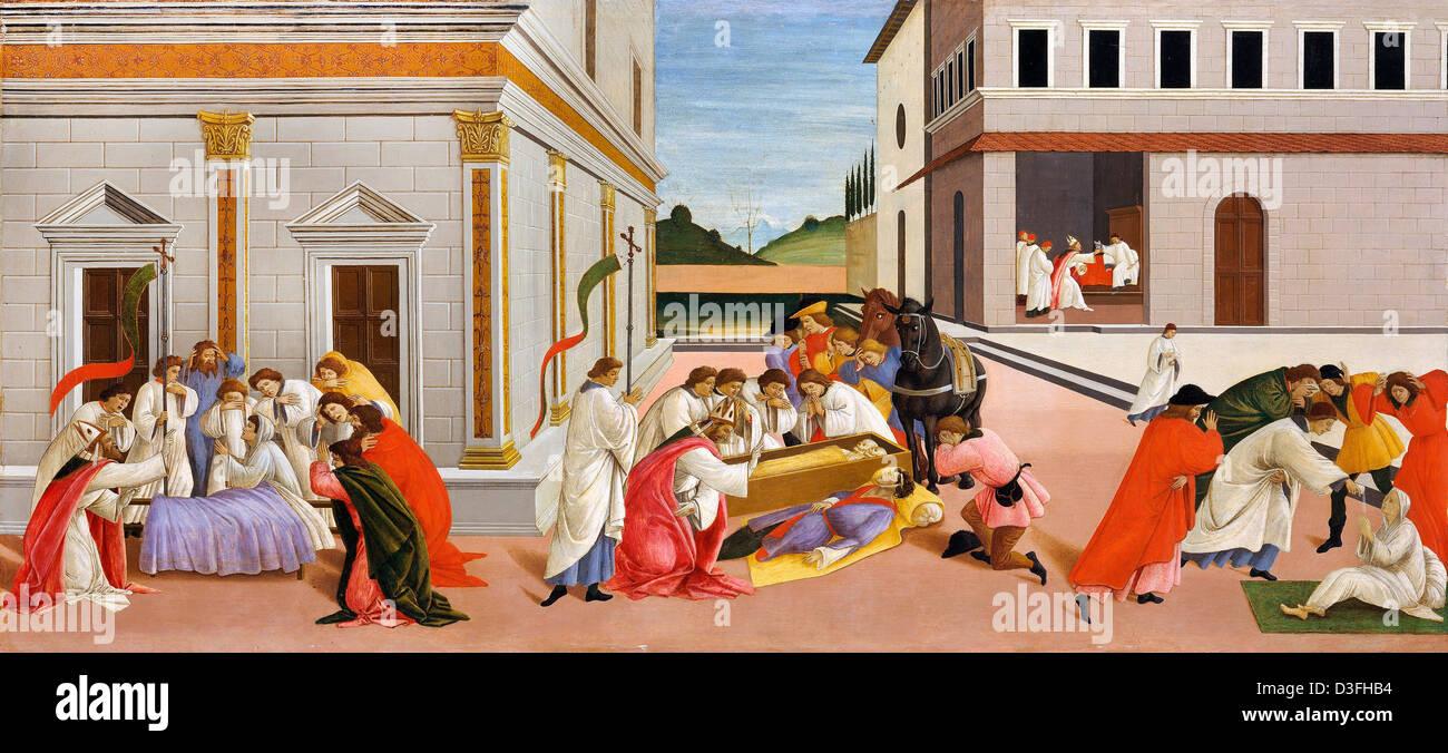 Sandro Botticelli, Three Miracles of St. Zenobius 1505 Tempera on panel. Metropolitan Museum of Art, New York - Stock Image