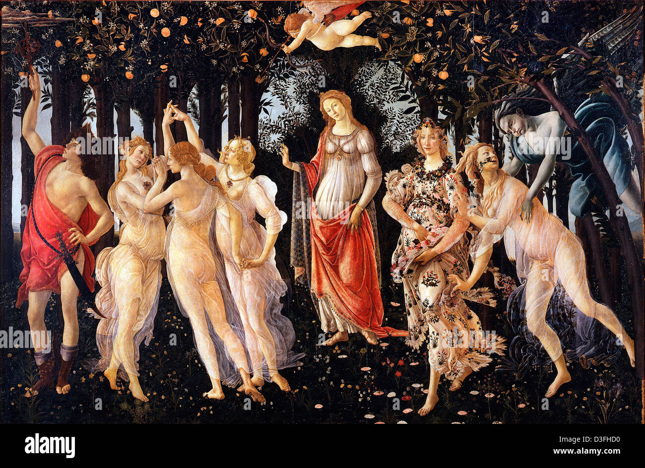 Sandro Botticelli, Spring (Primavera) 1482 Tempera on panel. Uffizi, Florence - Stock Image
