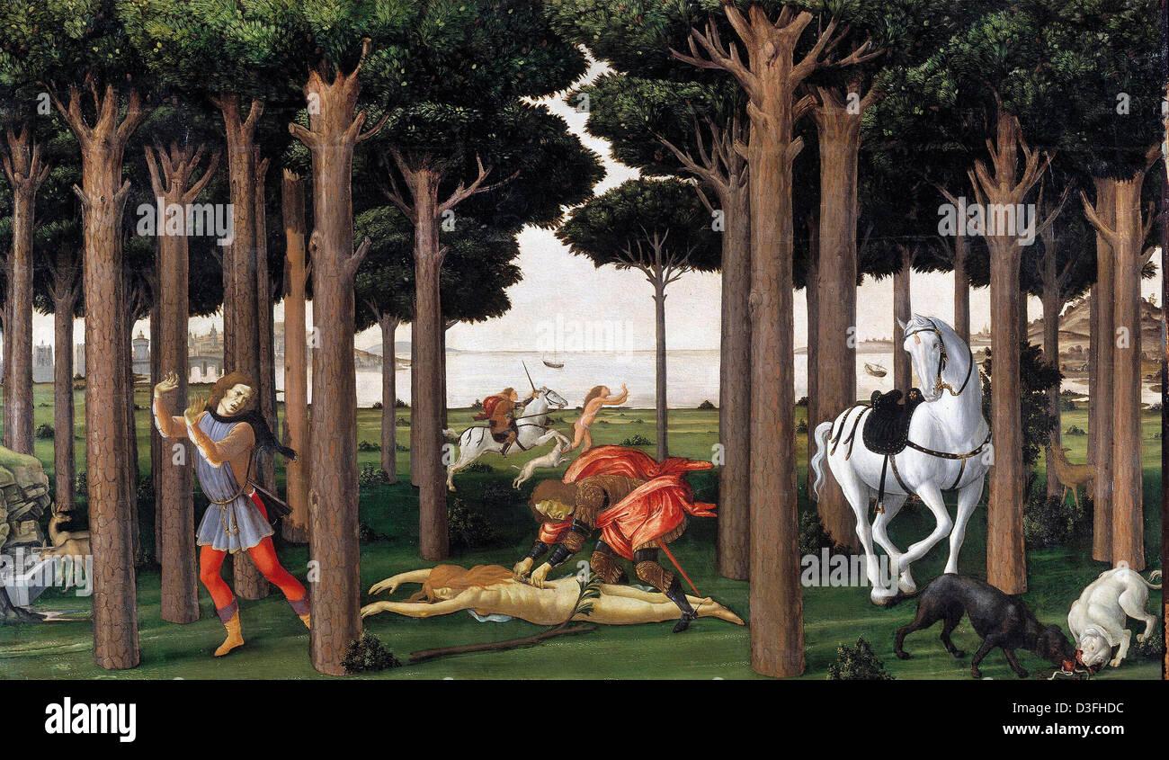 Sandro Botticelli, The Story of Nastagio degli Onesti II Tempera on panel. Museo del Prado, Madrid - Stock Image