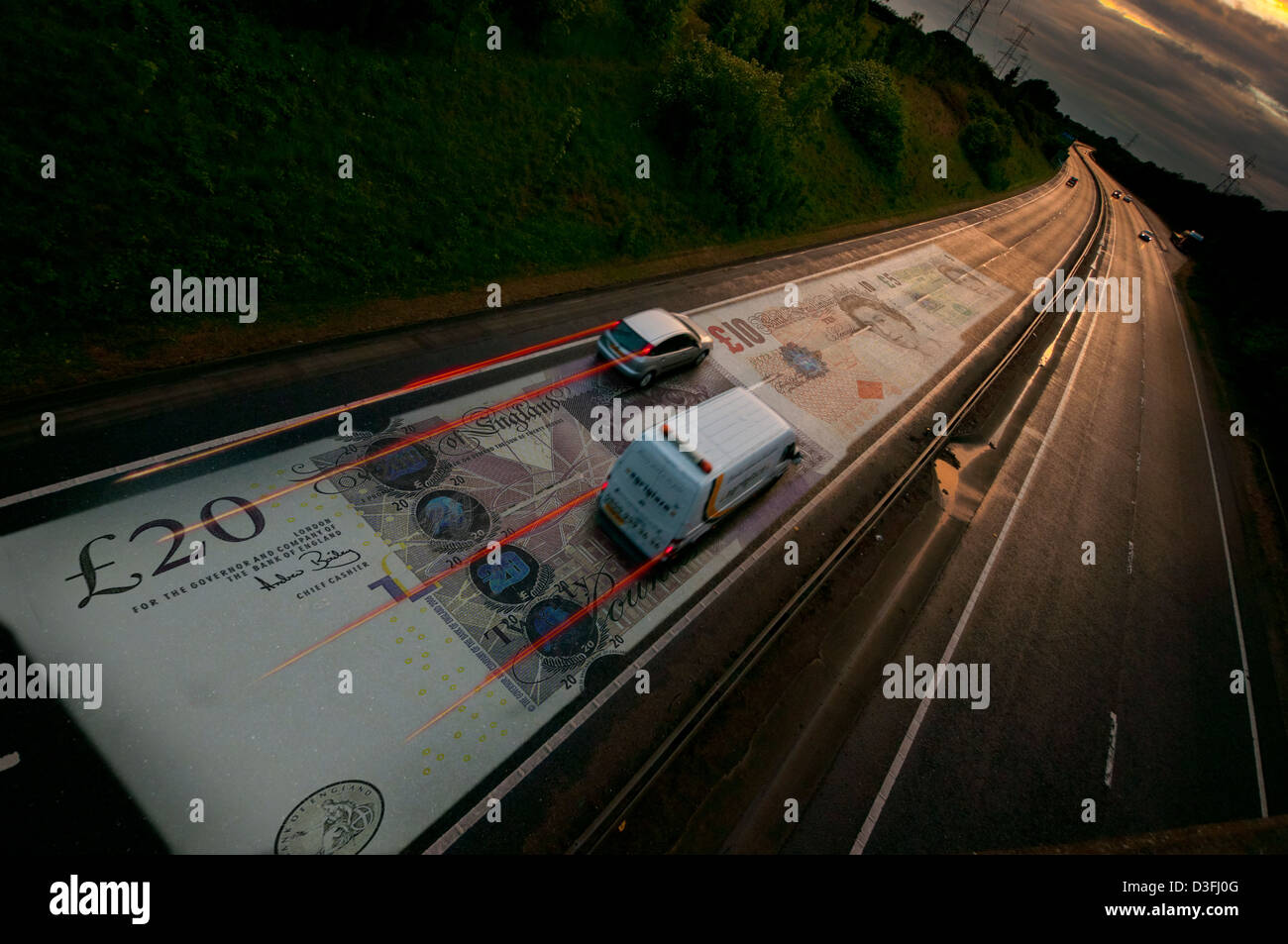 money road tolls road pricing vehicle car cars toll Stock Photo