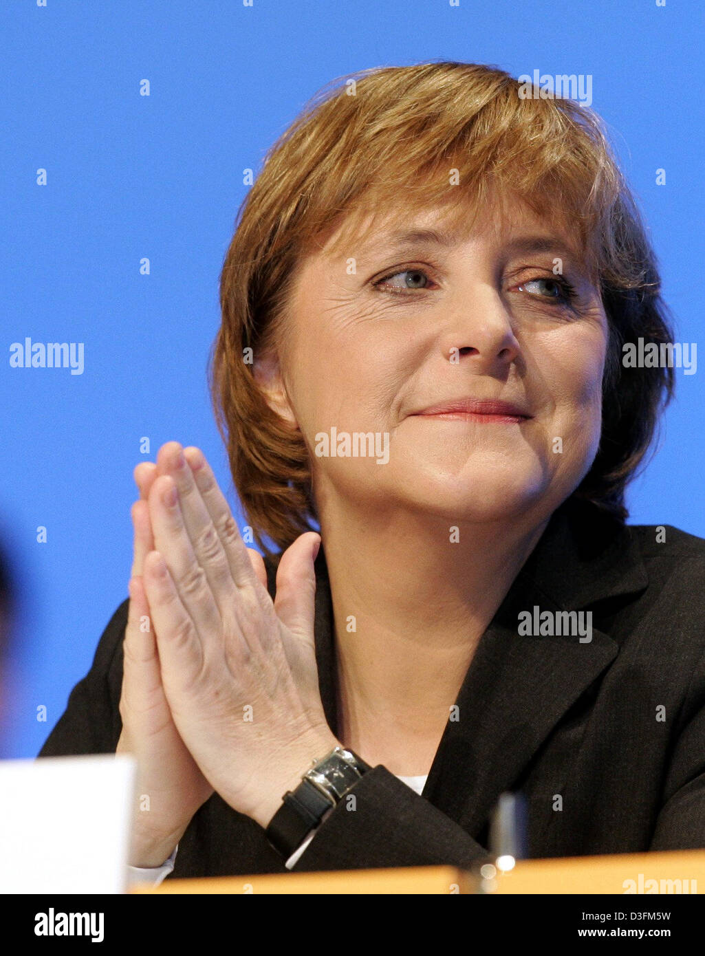 (dpa) - The photo shows Angela Merkel, Leader of the German Christian Democratic Union (CDU), during the CDU's 18th party congress in Duesseldorf, Germany, 6 December 2004. The party congress took place under the motto 'Deutschlands Chancen nutzen' (to use Germany's chances). Stock Photo
