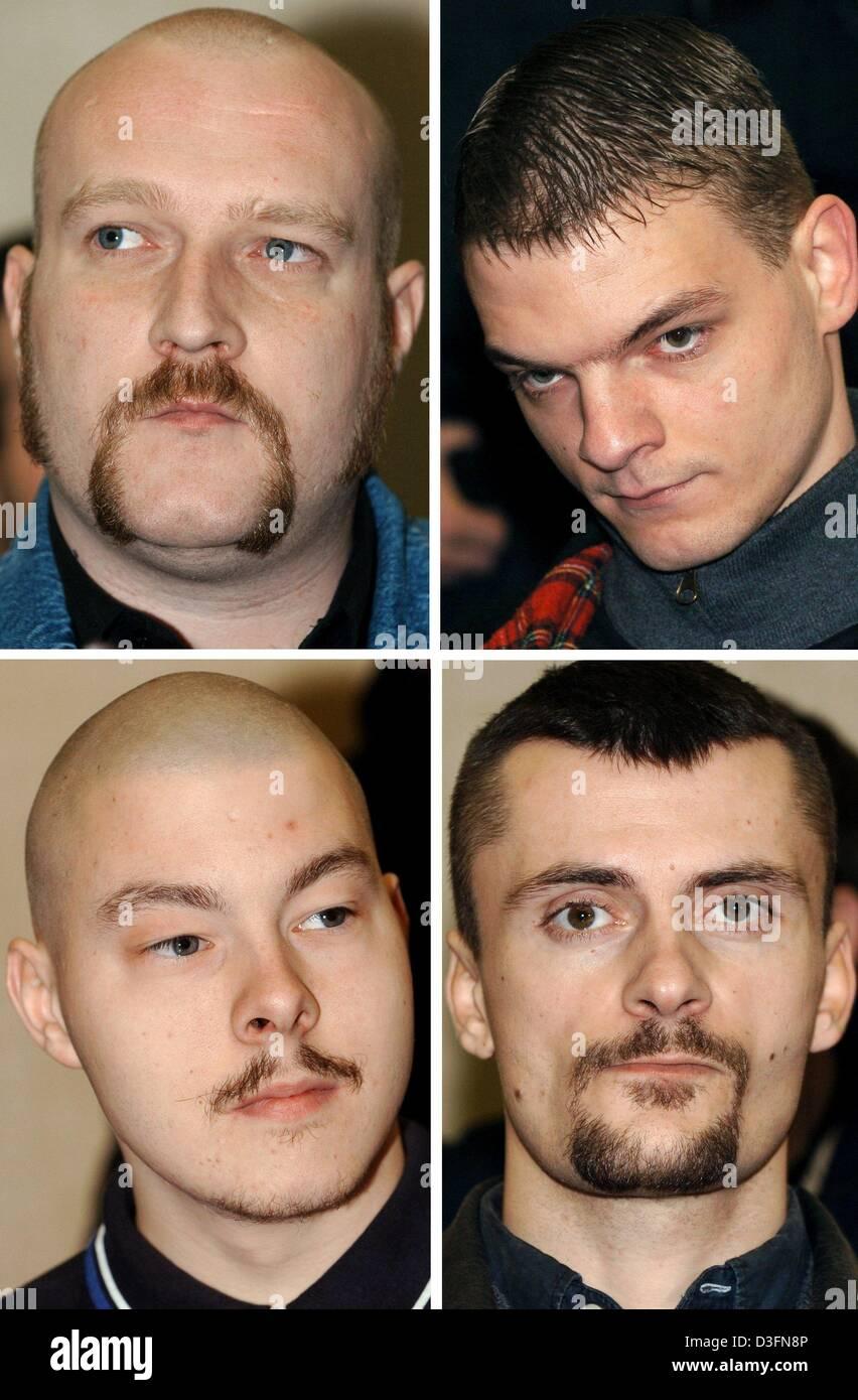 (dpa) - The photo combo shows the Neo Nazis Martin Wiese (clockwise starting top left), David Schulz, Karl-Heinz Stock Photo