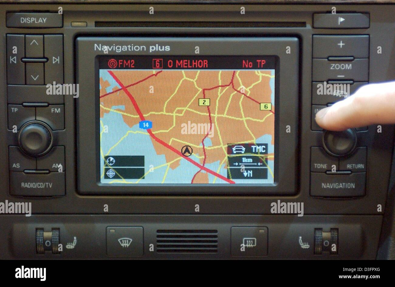 (dpa) - A navigation system is seen in the cockpit of an Audi car, pictured at the AMI (Auto Mobil International) - Stock Image