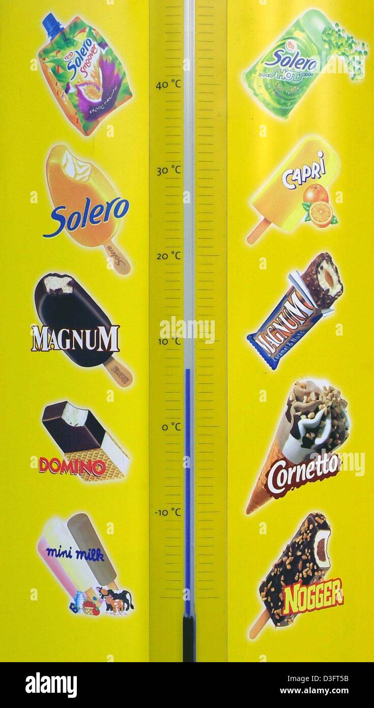 (dpa) - A menu with thermometer shows different kinds of ice cream from Langnese in Frankfurt, Germany, 7 April - Stock Image
