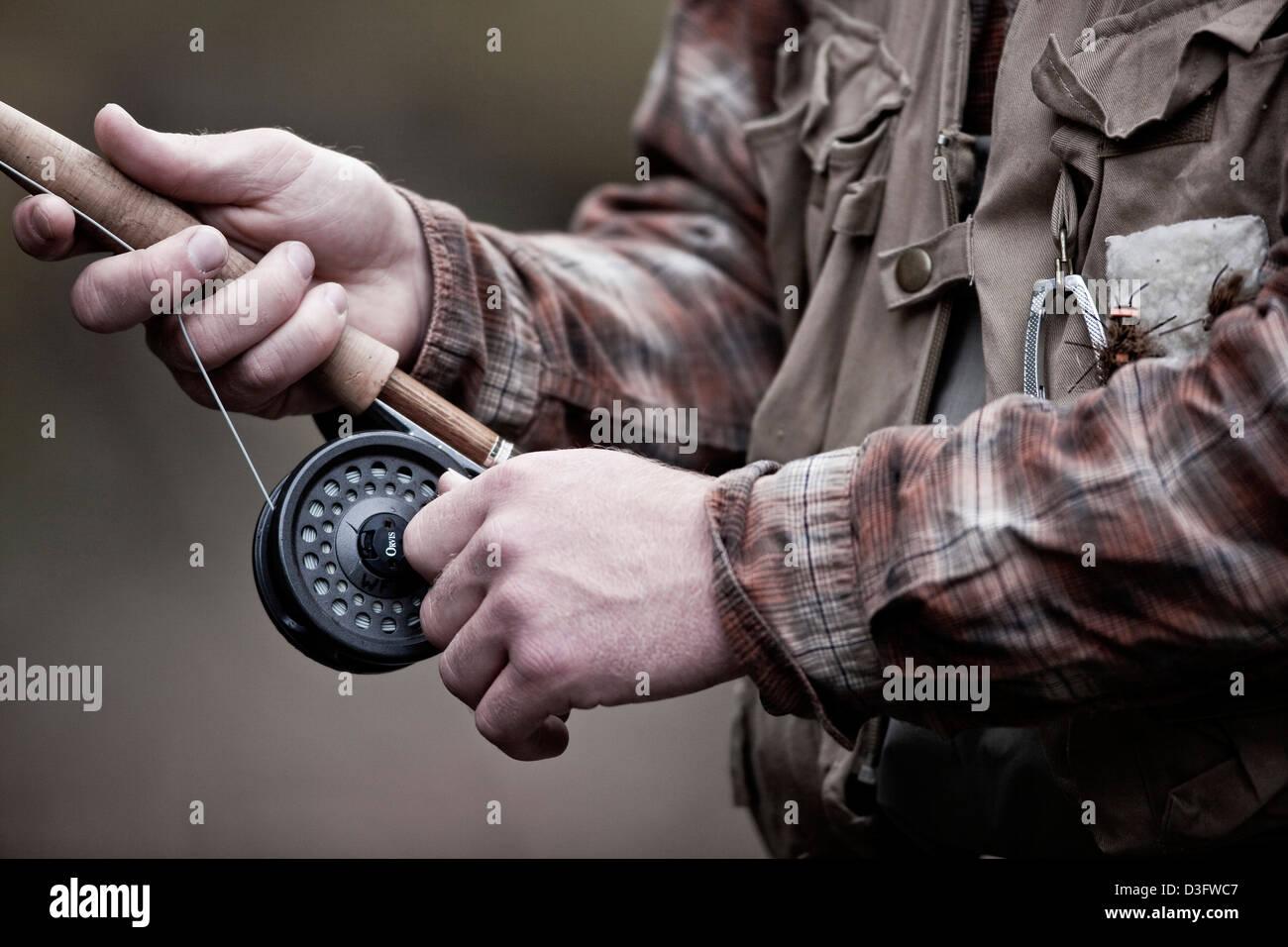 Man Fly fishing, reel and rod, Big Creek, Montana, USA, Christopher D Kelly - Stock Image