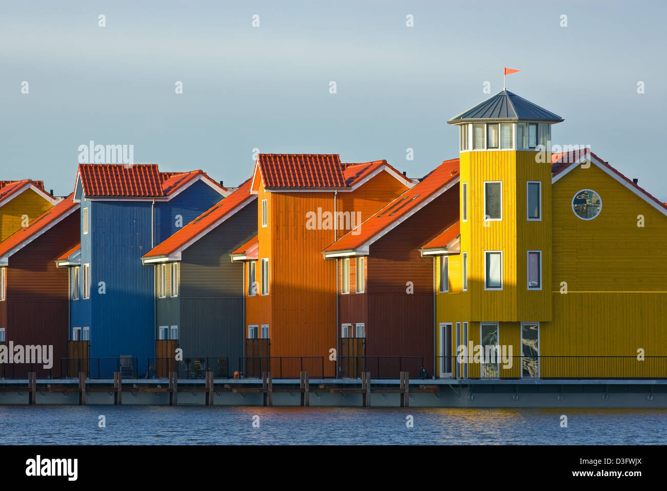 Colourful Houses At Reitdiephaven Groningen Netherlands Stock