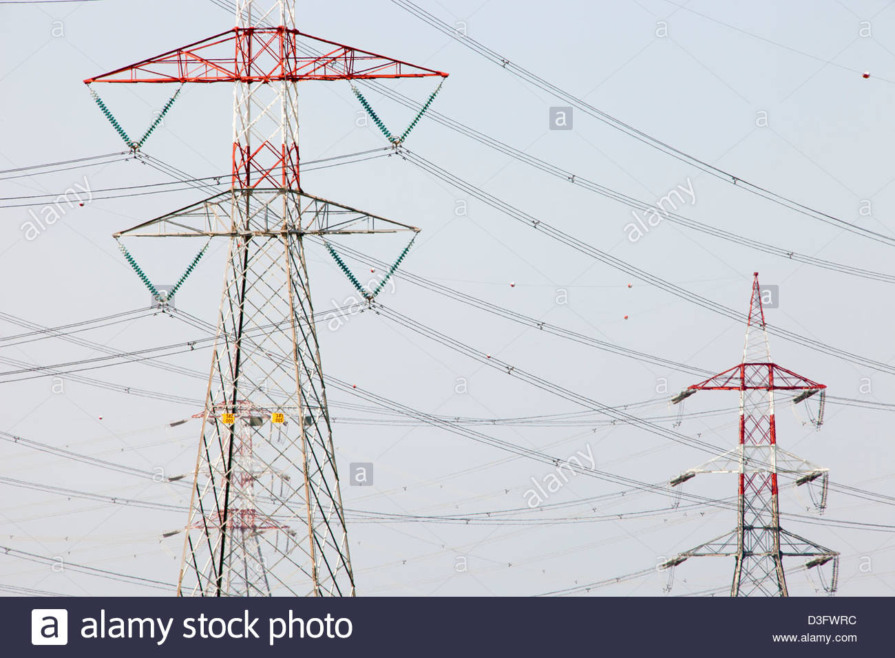 pylons of the high voltage cables,area of vulci,province of viterbo,lazio,italy,europe - Stock Image