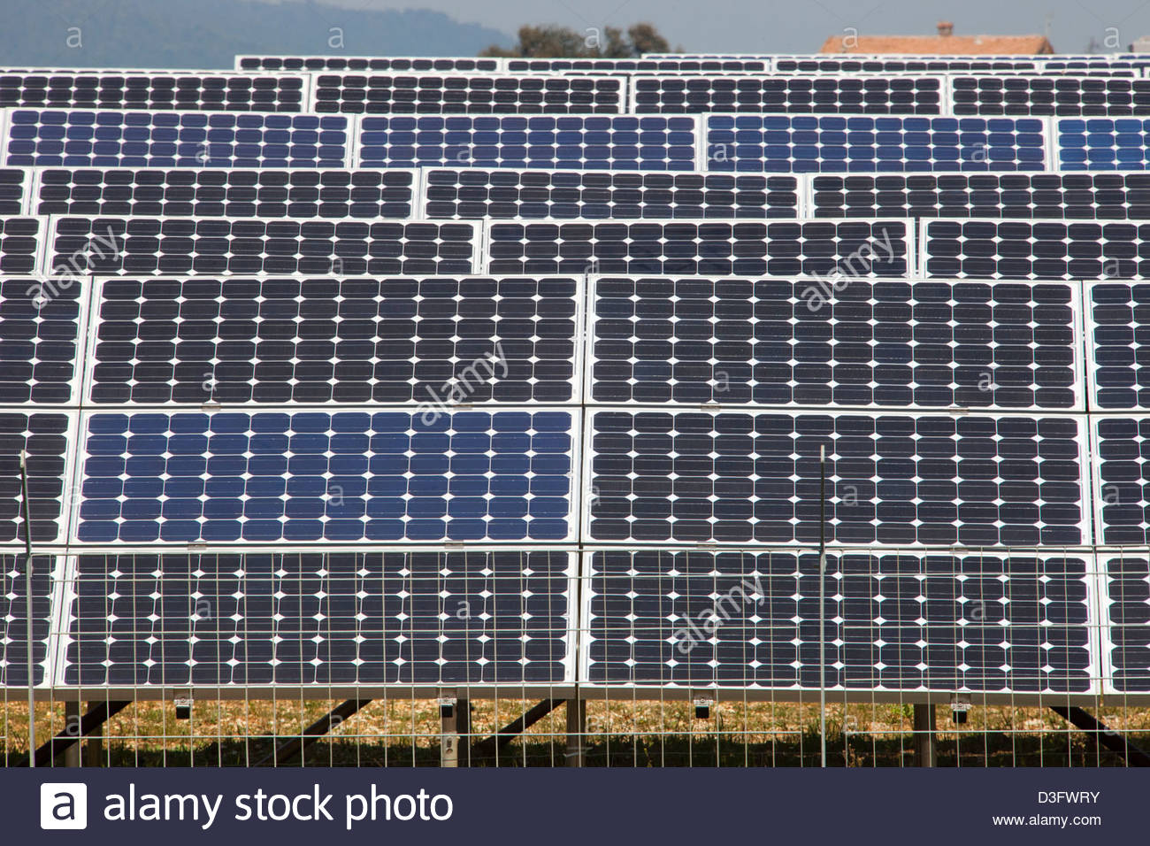 solar panels,solar power plant,area of vulci,province of viterbo,lazio,italy,europe - Stock Image