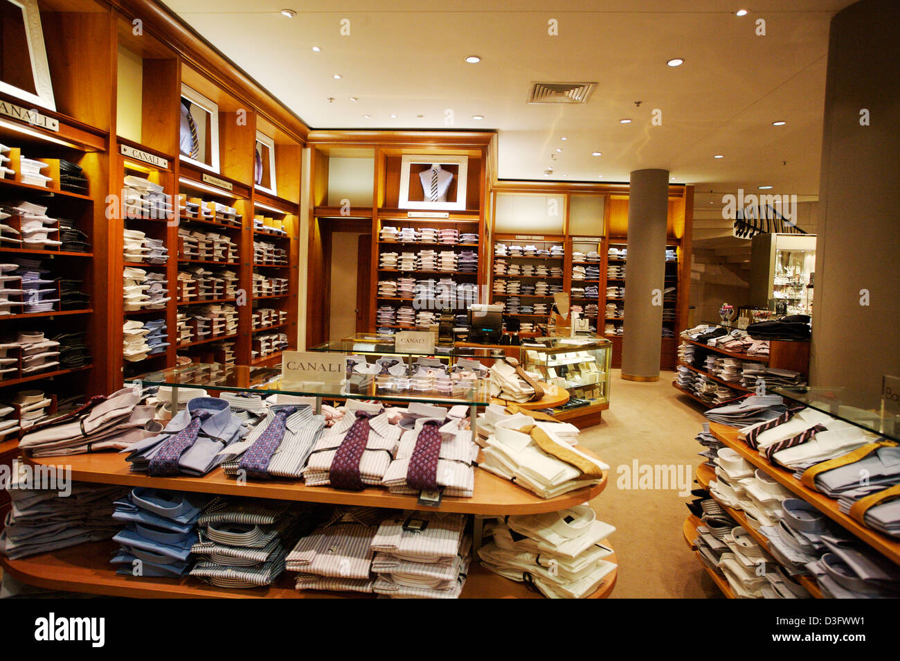 Interior of the upmarket mens retail in Brown Thomas store on Grafton Street, Dublin, Ireland. - Stock Image