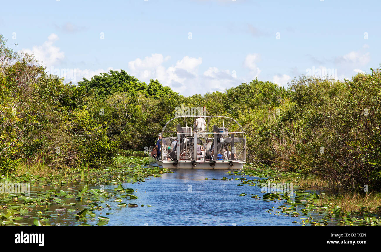 Tourists on an Airboat, The Everglades, Florida, USA - Stock Image