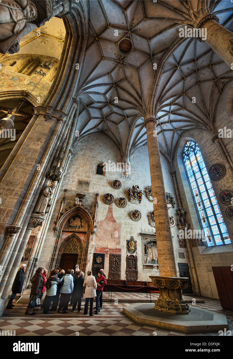 The interior of Ulm Minster in Germany, a Gothic church begun in the 14th century and currently the tallest church in the world. Stock Photo