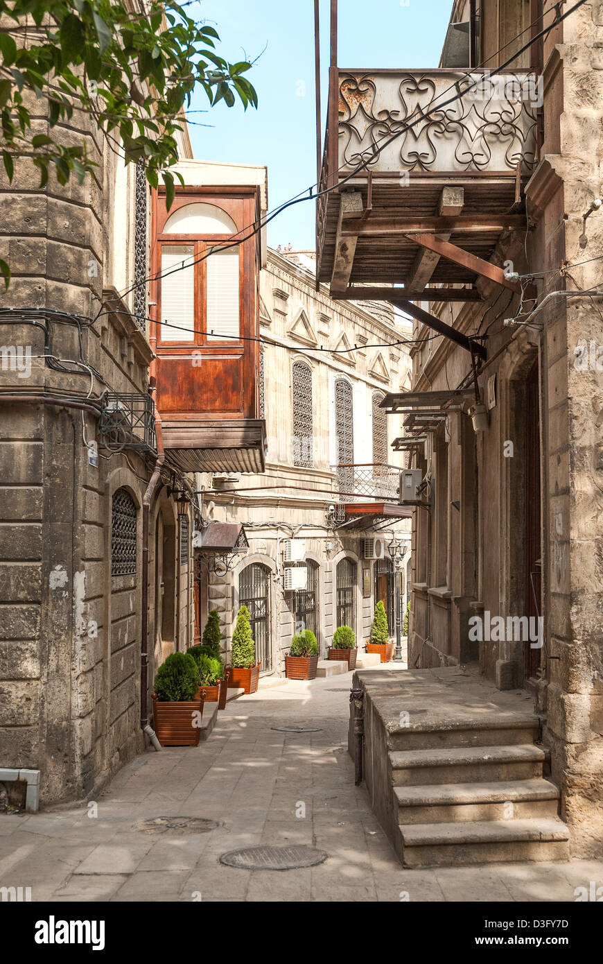 architecture in baku azerbaijan old town street - Stock Image
