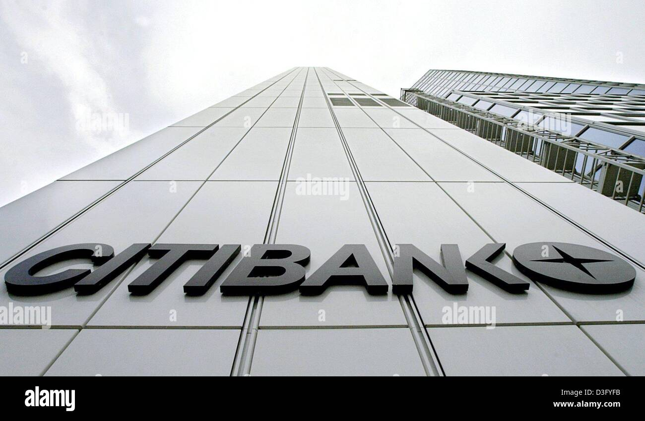 (dpa) - Worm's eye view of the Citibank Privatkunden AG (private customers) tower in Frankfurt, Germany, 22 April Stock Photo
