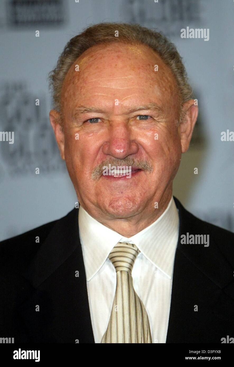 (dpa) - US actor Gene Hackman ('No Way Out', 'Unforgiven') smiles after the 60th Golden Globe Awards - Stock Image
