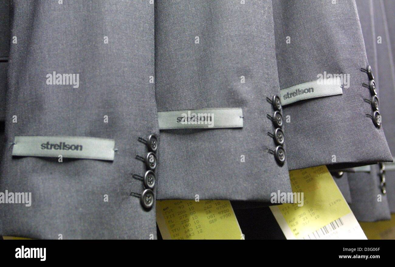 check out 3ab63 c817f dpa) - A Strellson label is fixed to the arms of jackets ...