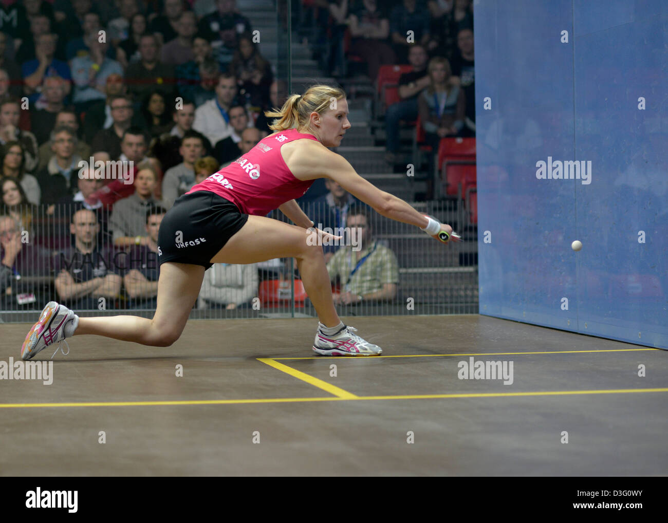 laura massaro plays a backhand return during her  winning semi-final against madeleine perry. - Stock Image