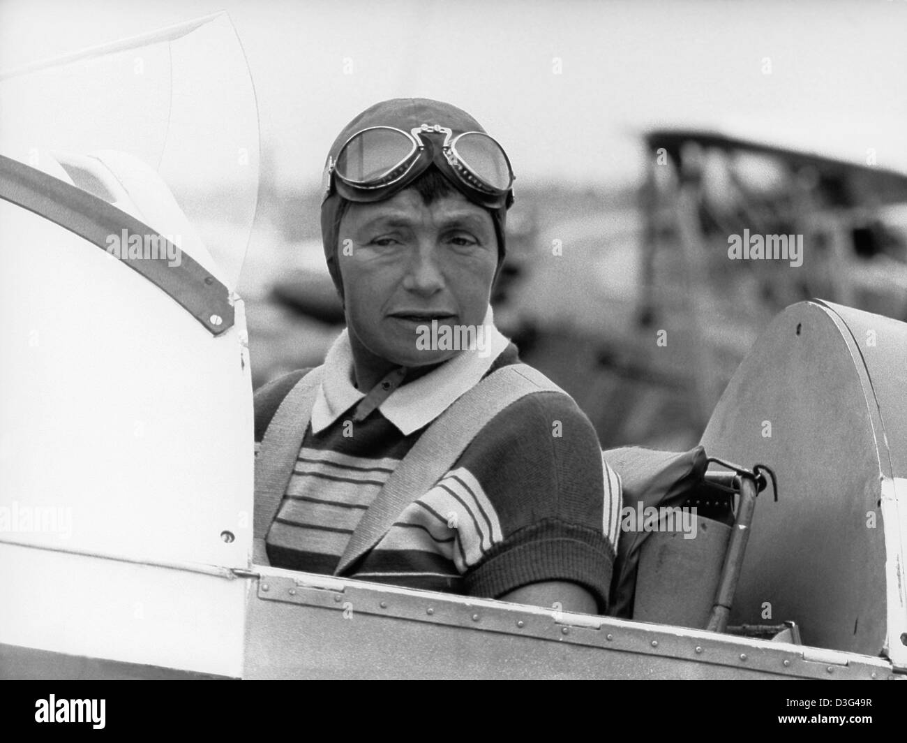 (dpa files) - The air acrobat Liesel Bach sits in her aircraft during the German acrobatic flying competition in - Stock Image