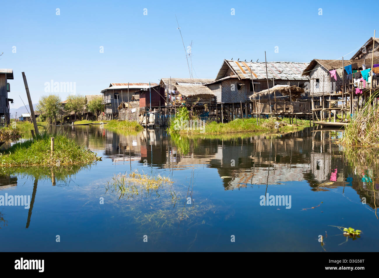 A village in Inle (also, Inlay) Lake in Myanmar - Stock Image