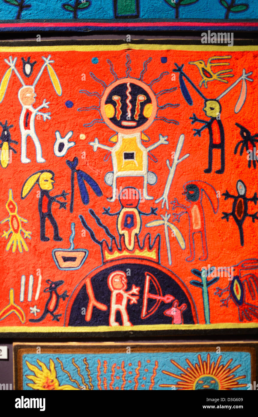God's Eye or Nierika Ritual Weaving Depicting Early Astronomy Astrology or Astrological Beliefs by Huichol Indians - Stock Image