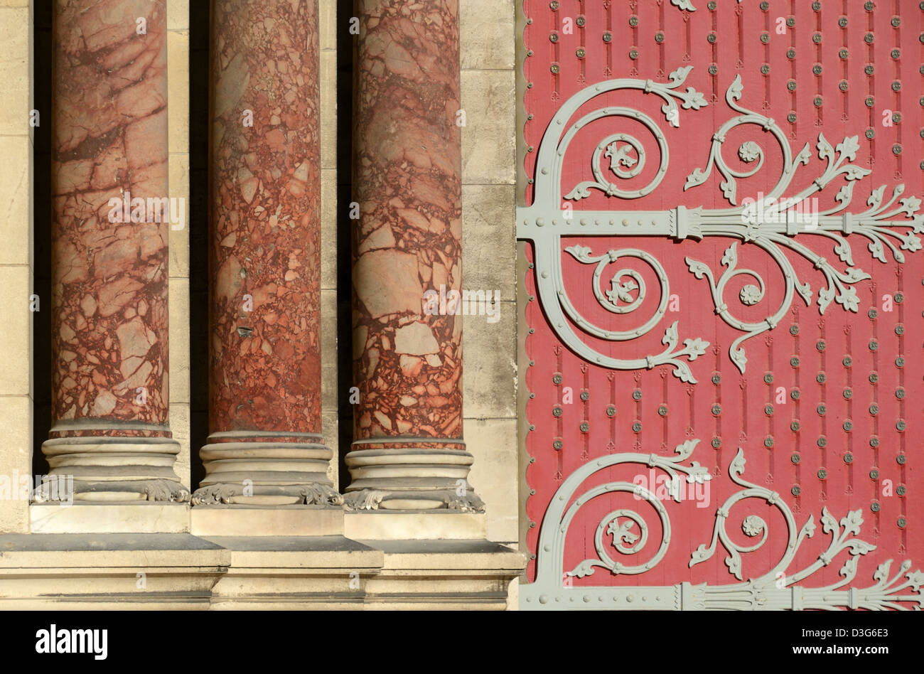 Door and Columns of Marseille Cathedral or Cathédrale de la Major Marseille or Marseilles Provence France - Stock Image