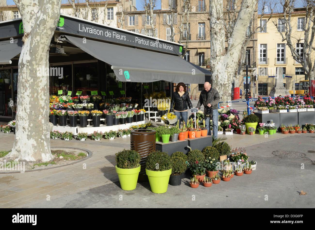 Florist or Florists Shop La Rotonde Aix-en-Provence France - Stock Image