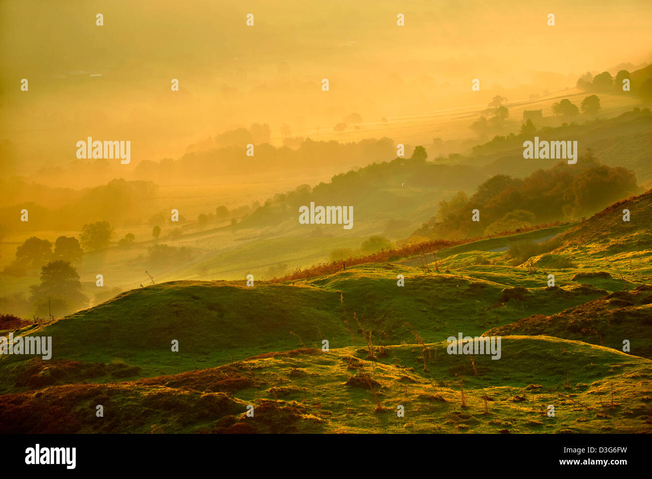 Sunrise over Rosedale viewed from Chimney Bank, North Yorks National Park, North Yorkshire, England - Stock Image