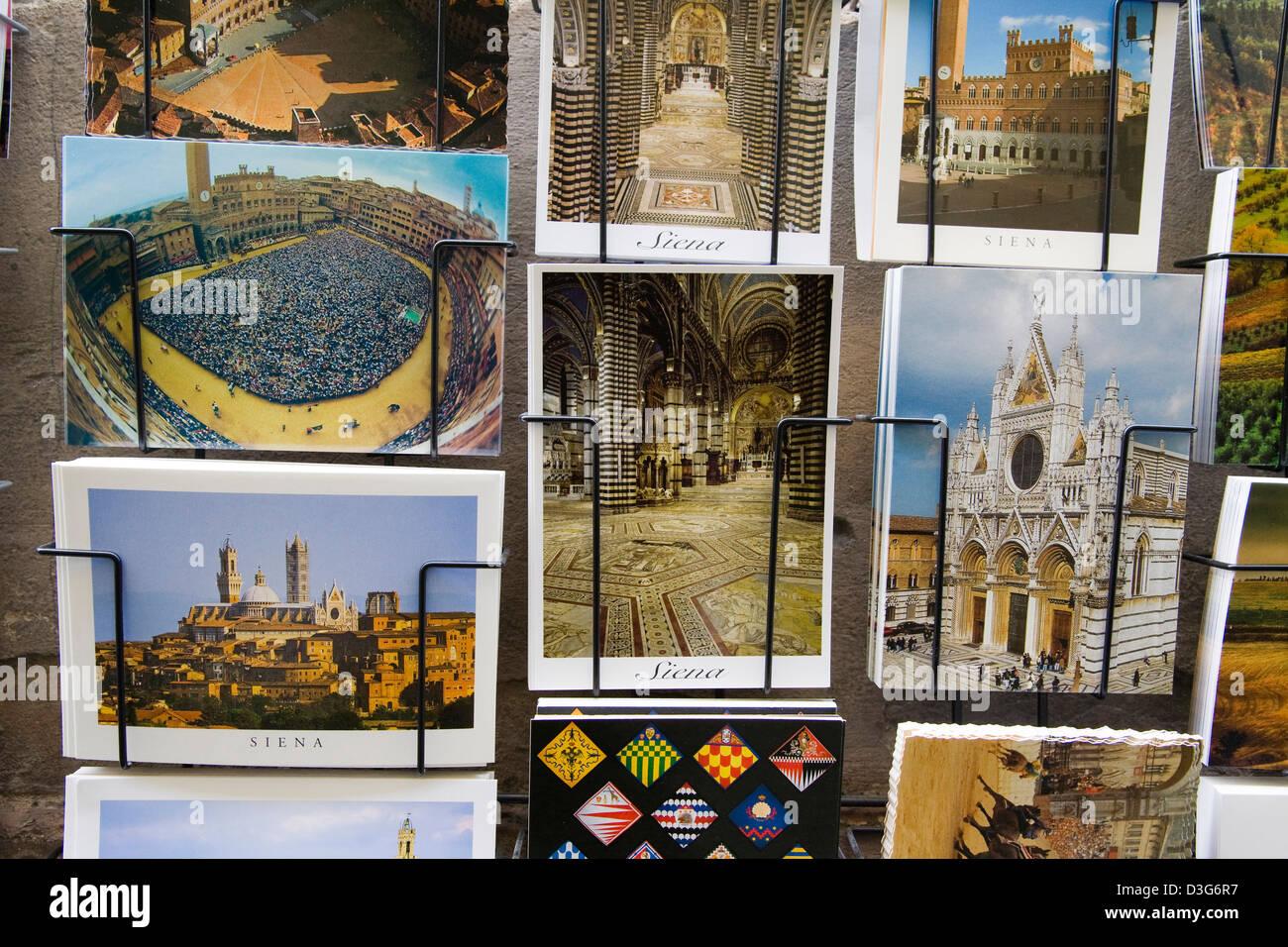 europe, italy, tuscany, siena, postcards of siena - Stock Image
