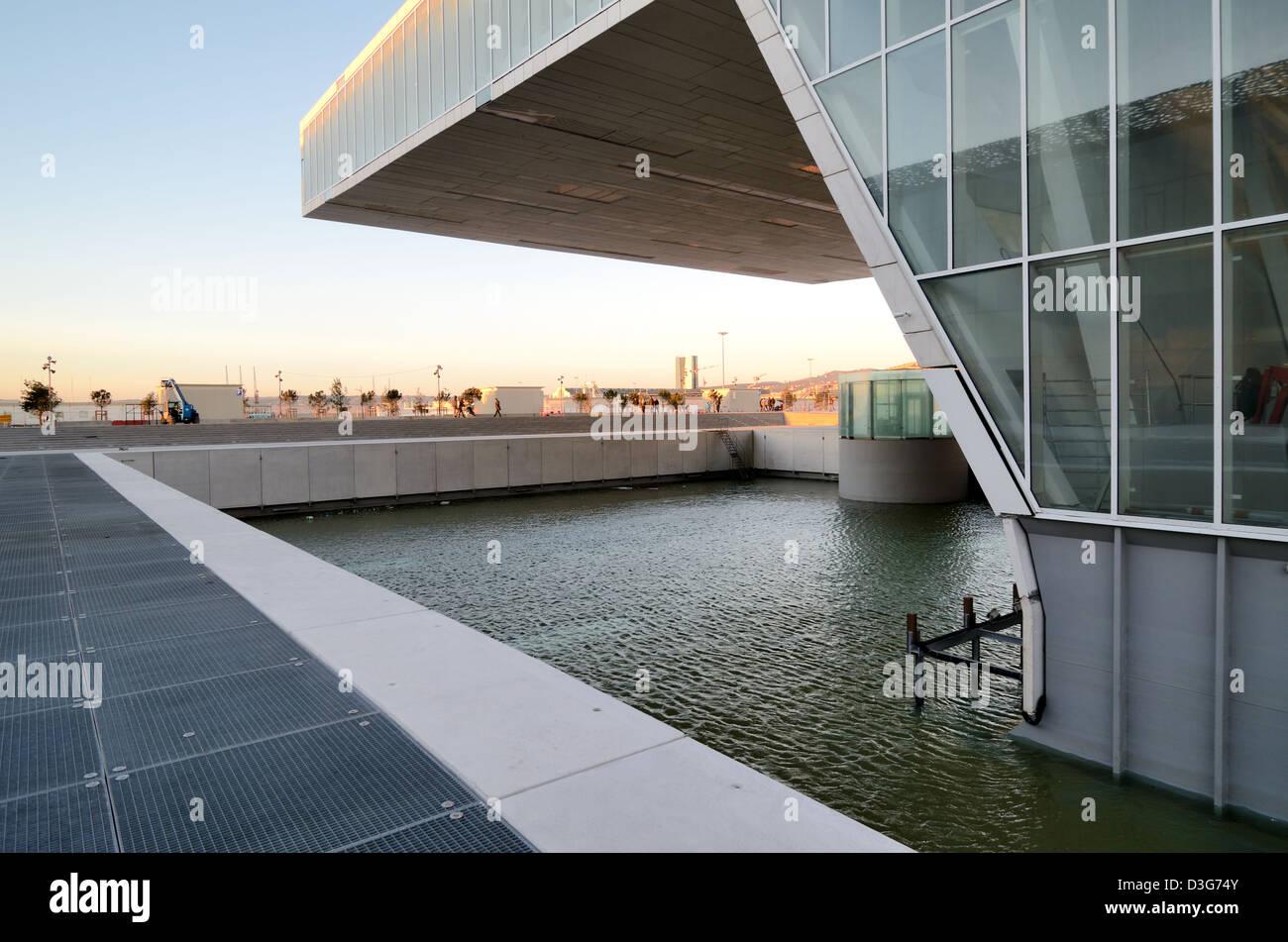 Villa Mediterranée Exhibition Hall by Stefano Boeri Marseille France - Stock Image