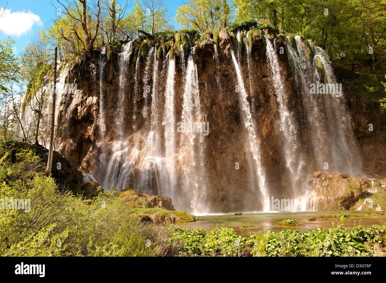 Waterfall in Plitvice Lakes National Park Croatia - Stock Image