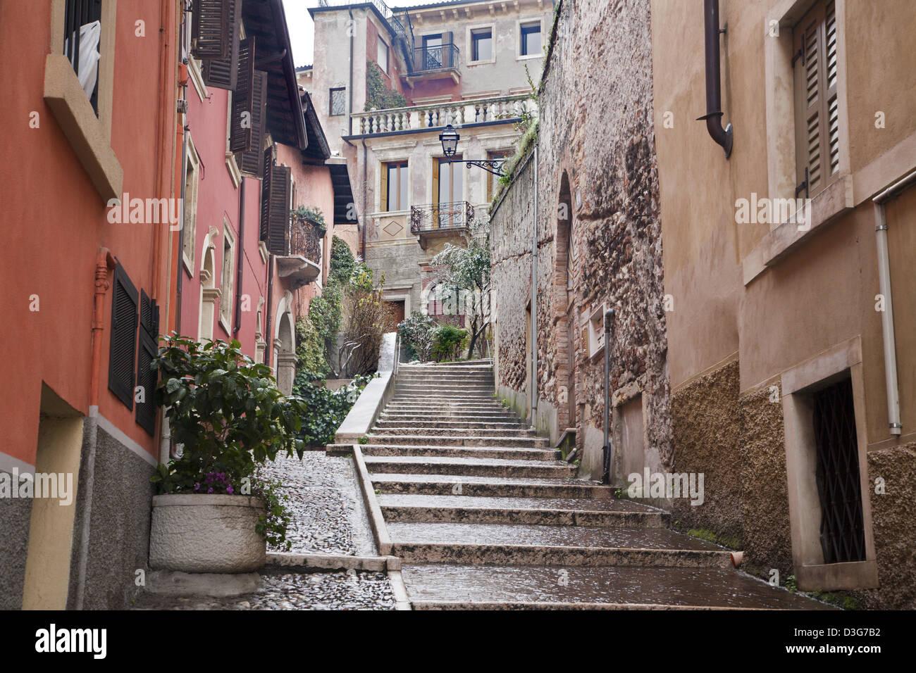 Verona - ascent on Castel San Pietro - Stock Image