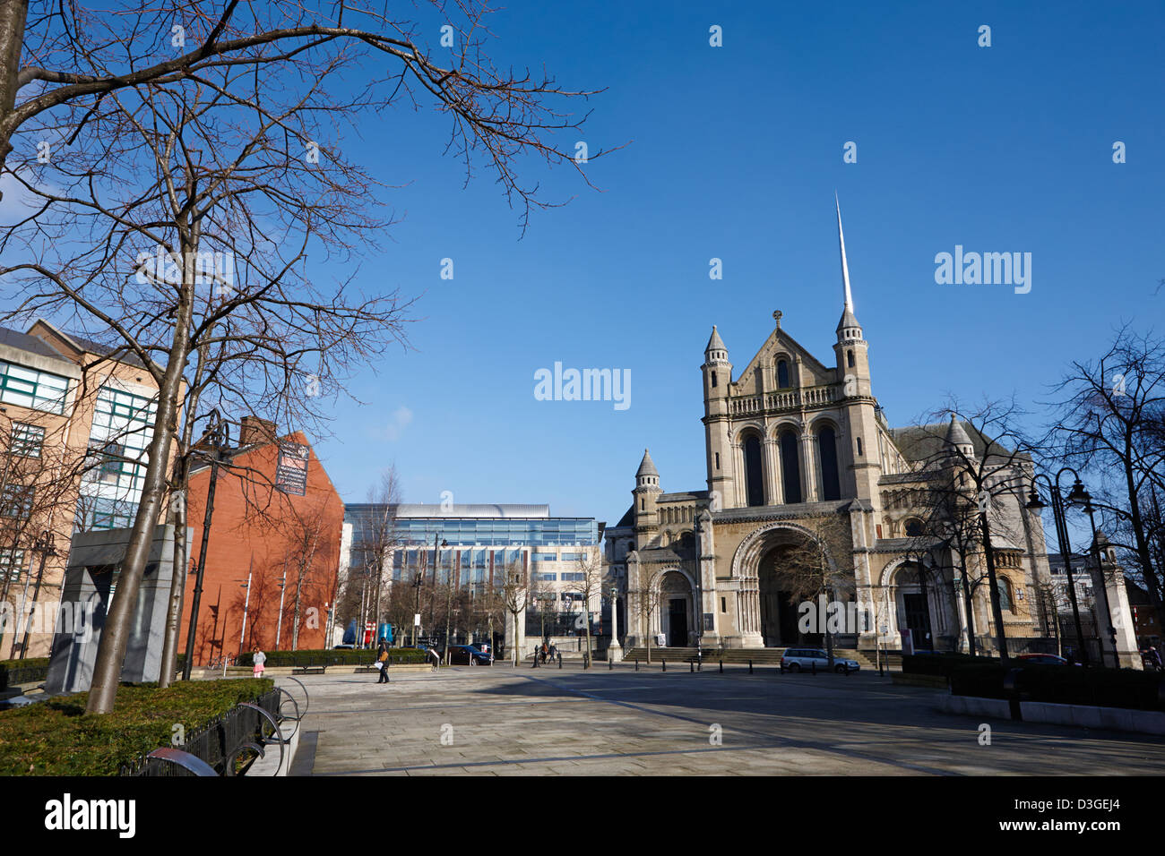 saint annes belfast cathedral and writers square Belfast Northern Ireland uk - Stock Image