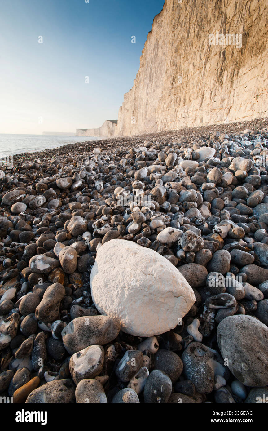 Close up view of the rocks on the beach at Birling Gap, on the southern coast of England. Part of the South Downs - Stock Image