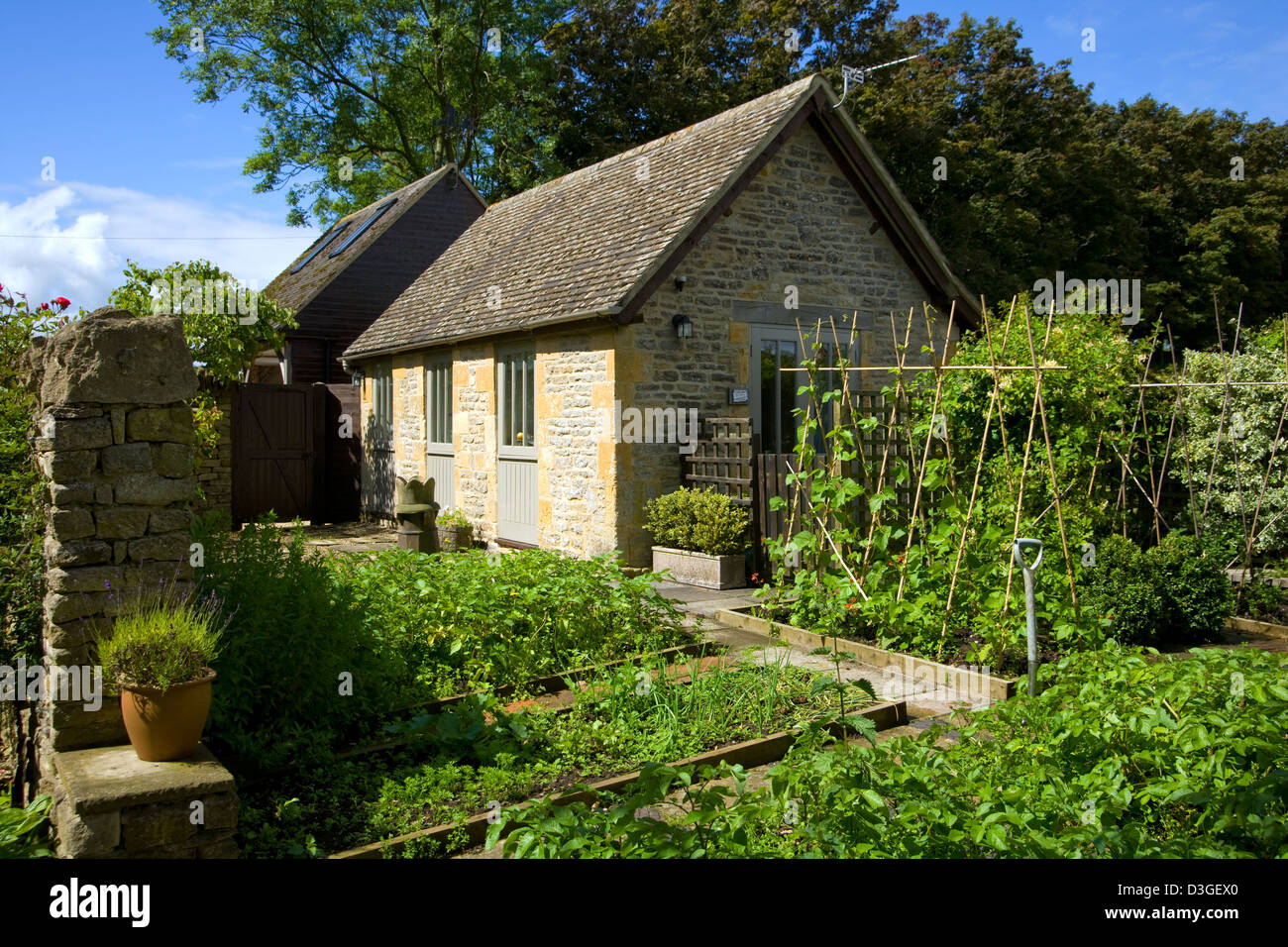 Uk Gardens A Small Raised Bed Vegetable Garden By An Outbuilding Stock Photo Alamy